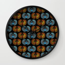 Egyptian Scarab Beetle Pattern - Gold  Blue  and red glass Wall Clock