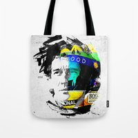 senna Tote Bags featuring Ayrton Senna do Brasil - White & Color Series #4 by Universo do Sofa - Artes & Etecetera