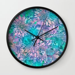 Painted Background Floral Pattern Wall Clock
