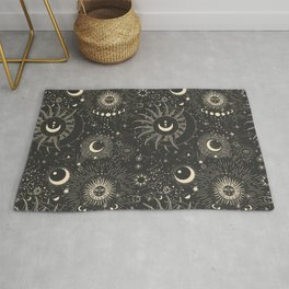 Sun and moon astrology pattern Rug