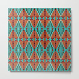 Bright Orange Red Aqua Turquoise Teal Rustic Native American Indian Mosaic Pattern Metal Print