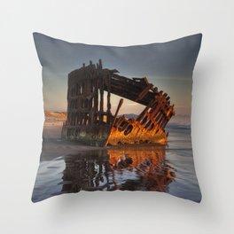 Shipwreck at Sunset Throw Pillow