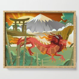 red chinese asian flying dragon Serving Tray
