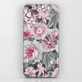 Nostalgic Flower Pattern Teal And Pink iPhone Skin