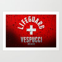 grand theft auto Art Prints featuring Los Santos Vespucci Beach Lifeguard Grand Theft Auto by KeenaKorn