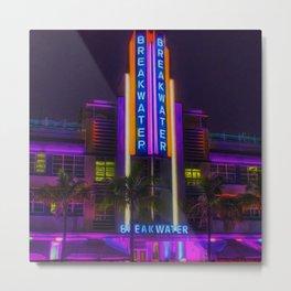 Breakwater Hotel - Art Deco South Beach Miami Portrait Painting Metal Print