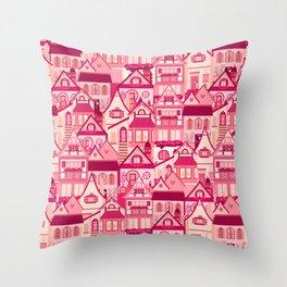 Pink Little Town Throw Pillow