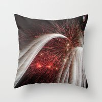 fireworks Throw Pillows featuring Fireworks by Carolina Jaramillo