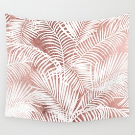 Modern elegant white faux rose gold palm tree Wall Tapestry