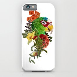 Floral Parrot Collage Art iPhone Case