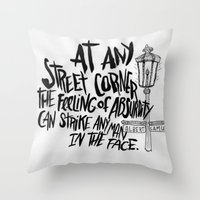 camus Throw Pillows featuring ALBERT CAMUS ROCKJAM by Josh LaFayette