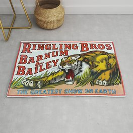 1938 Ringling Brothers and Barnum & Bailey Circus Tiger Act - Greatest Show on Earth Circus Poster Rug