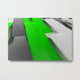White, black and green plastic waves Metal Print