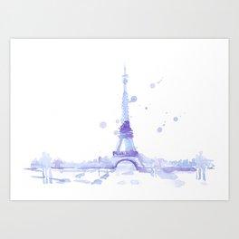 Watercolor landscape illustration_Eiffel Tower Art Print