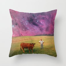 How Now Brown Cow #2 - What's that man doing in my field? Throw Pillow