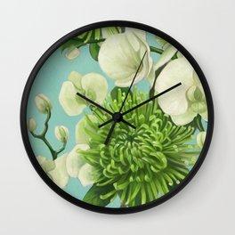 Dahlia flowers painting. Wall Clock