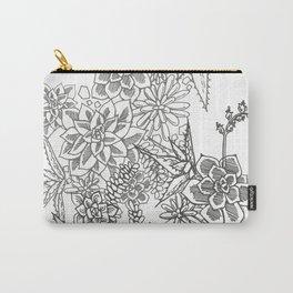 Succulent doodle - black + white Carry-All Pouch