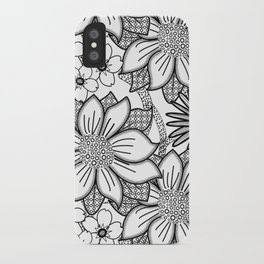 Black and White Floral Drawing iPhone Case