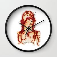 blood Wall Clocks featuring Blood by Raquel C. Hita - Sednae