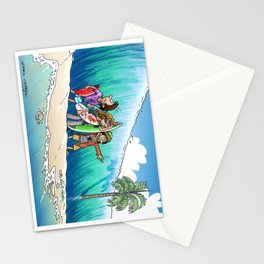 Back Wave surfing situation Stationery Cards
