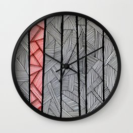 Red Stripes Wall Clock