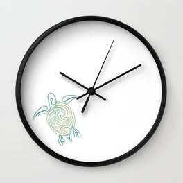 Turquoise Green Turtle And Mandala Wall Clock
