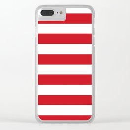 Horizontal Stripes - White and Fire Engine Red Clear iPhone Case