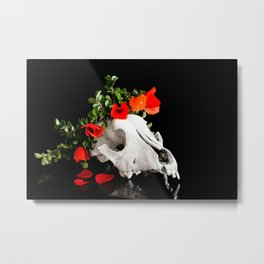 Animal skull with a wreath of wild flower Metal Print