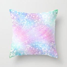 Magical Iridescent Glitter Sparkles Pink Girly Design Throw Pillow
