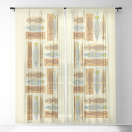 Fish In A Midcentury Modern Style Sheer Curtain