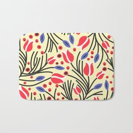 Waves of Flower (Bright Color Floral) Bath Mat