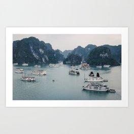 The Boats and Limestone Cliffs of Halong Bay, Vietnam Art Print
