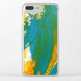 Wings Collection orange/cyan Clear iPhone Case