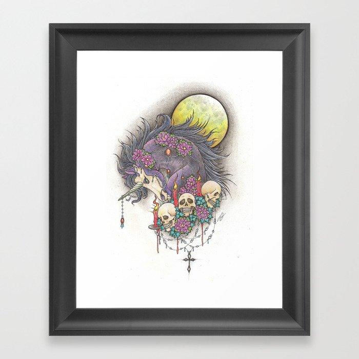 215f424f608f Dark Unicorn Framed Art Print by skullwolfjack   Society6