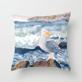 A Watercolor Seagull Named Fred (on Second Cliff in Scituate) Throw Pillow