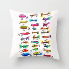 All the Fishing Lures - Illustration Throw Pillow