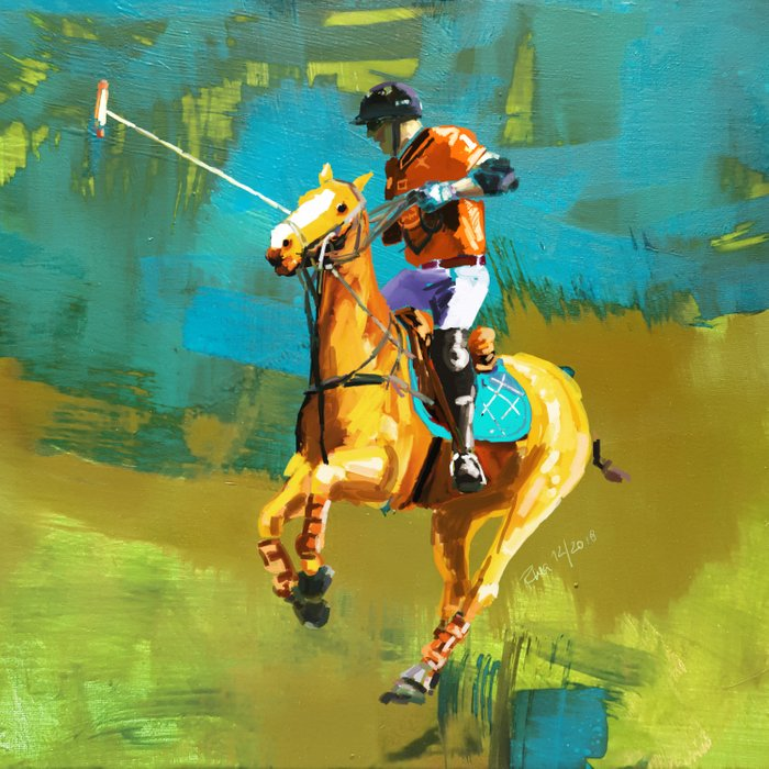 poloplayer abstract turquoise ochre Duvet Cover