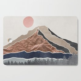 Mount Hood // Daylight Art Print Oregon Stratovolcano Rose Gold Silver Blue Cream Black Mountain Cutting Board