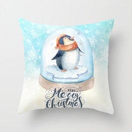 Christmas penguin #3 Throw Pillow