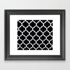 Morocan Black and White Lattice Moroccan Pattern Framed Art Print