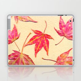 Japanese maple leaves - coral red on pale yellow Laptop & iPad Skin