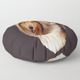 Rough Coated Sable White Collie Dog Portrait  Floor Pillow