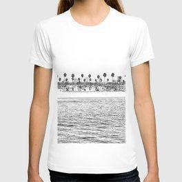 Vintage Newport Beach Print {4 of 4} | Photography Ocean Palm Trees B&W Tropical Summer Sky T-shirt
