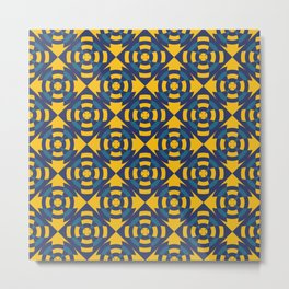 Simple geometric stripe flower yellow and blue Metal Print