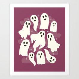 Ghosts Dark Pink Art Print