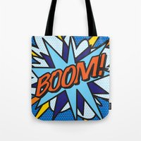 comic book Tote Bags featuring Comic Book BOOM! by Thisisnotme