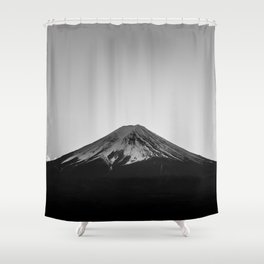Mount Fuji Volcano in Grayscale Shower Curtain
