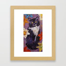 Cat with Tiger Lilies Framed Art Print