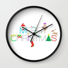Merry Christmas Typography with Christmas Characters and Decorations Wall Clock