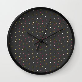 Trendy pink green gray faux gold cute polka dots Wall Clock